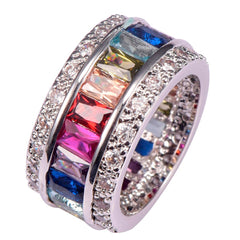 Image of Weinuo Sterling-Silver-Jewelry Multi Colour Crystal Zircon 925 Sterling Silver Jewelry Wholesale Retail Ring for Women Size 6-12