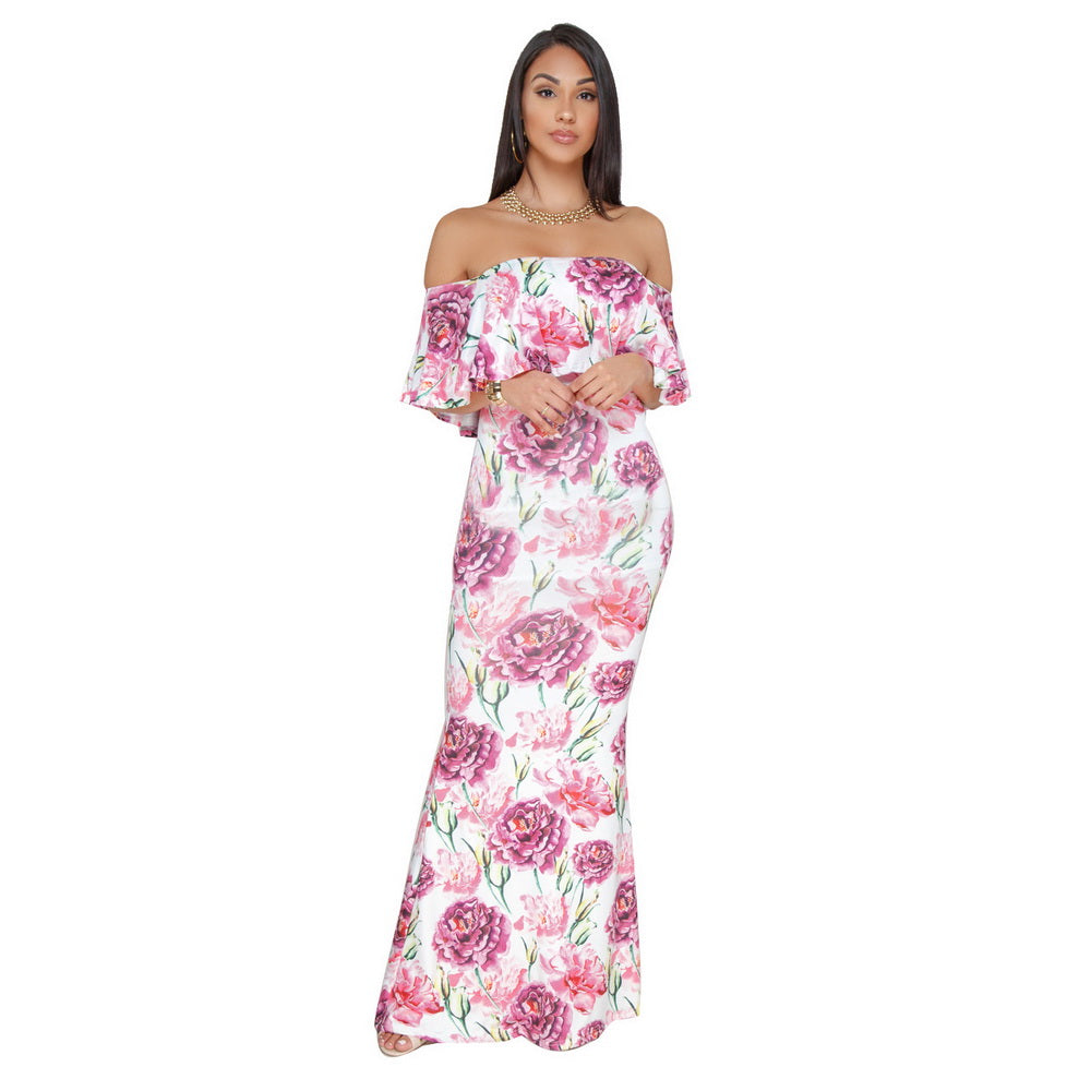 077ad6ade0 Wendywu 2018 New Women Boho Maxi Dress Spring Summer Style Off Shoulder  Ruffled Print Long Dresses. Hover to zoom