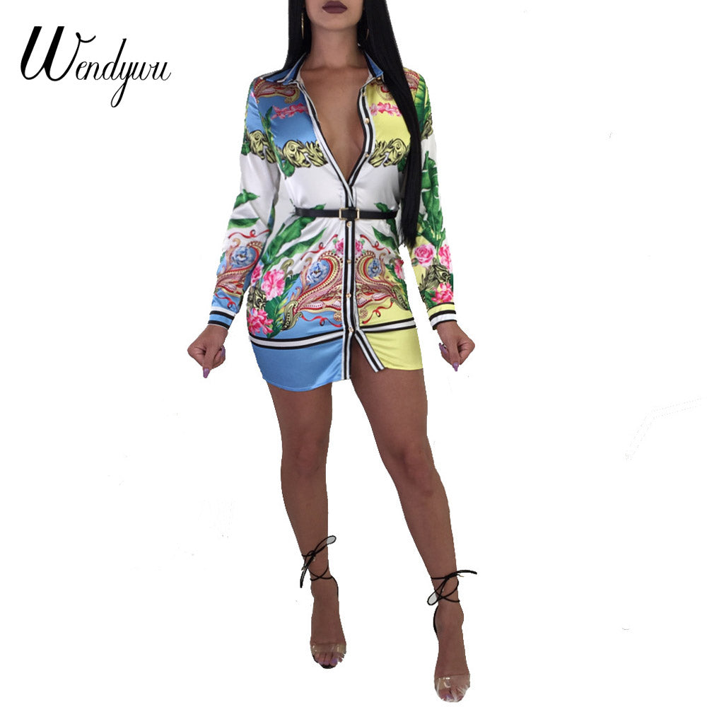 Wendywu Casual Print Buttons Mini Blouse Dresses Autumn Turn Down