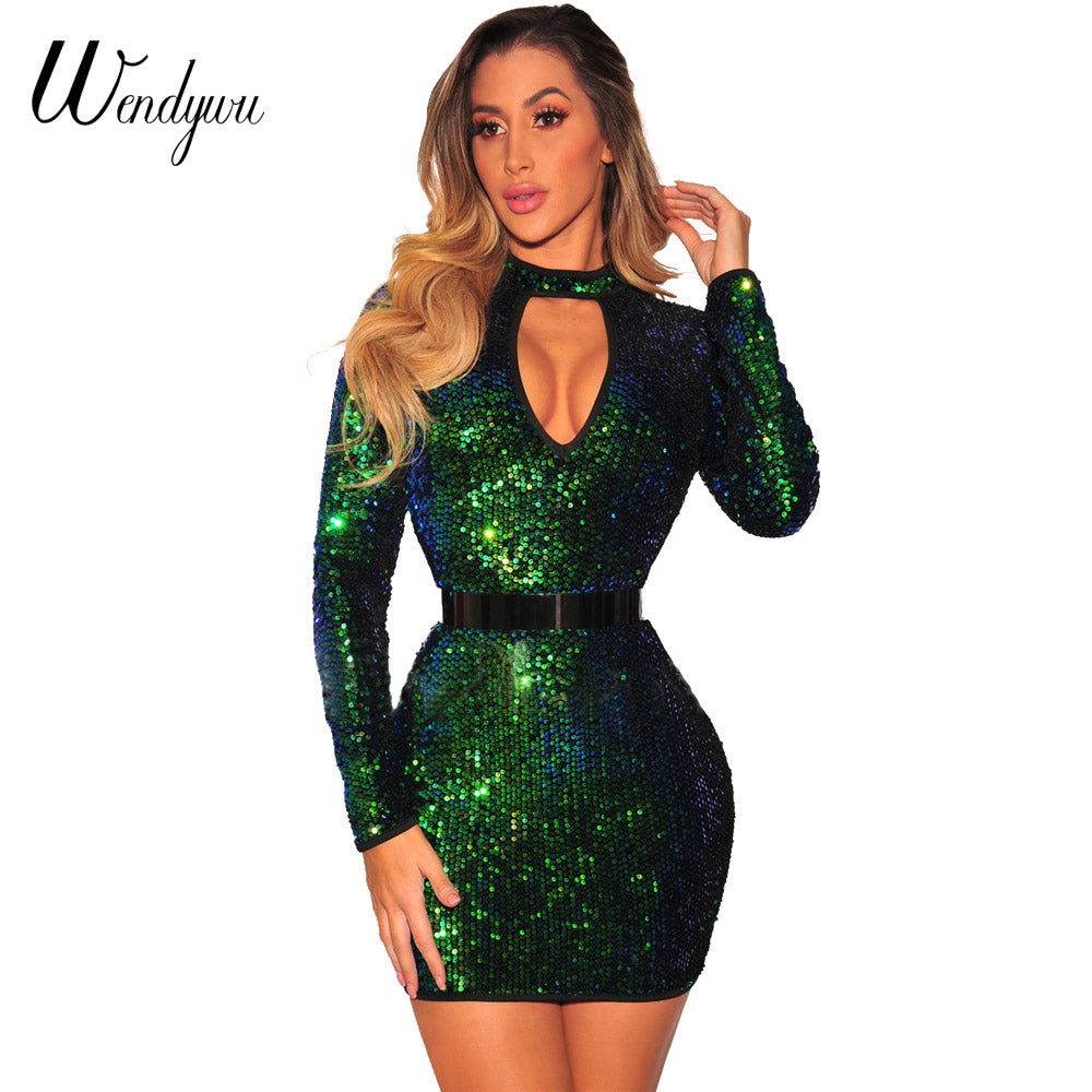 f63946cc8aa35 Wendywu Free Shipping 2017 New Spring Sexy Cleavage Long Sleeve Gold ...