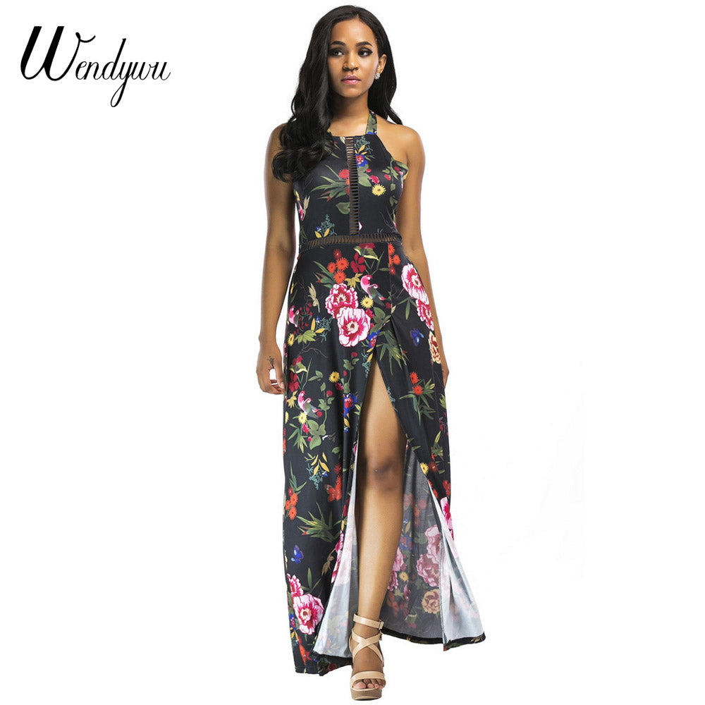 5605c001db1f1 Hover to zoom · Wendywu Girl Boho Halter Neck Backless Women Long Dress  Chiffon Split Floral Print Summer Dresses Sleeveless