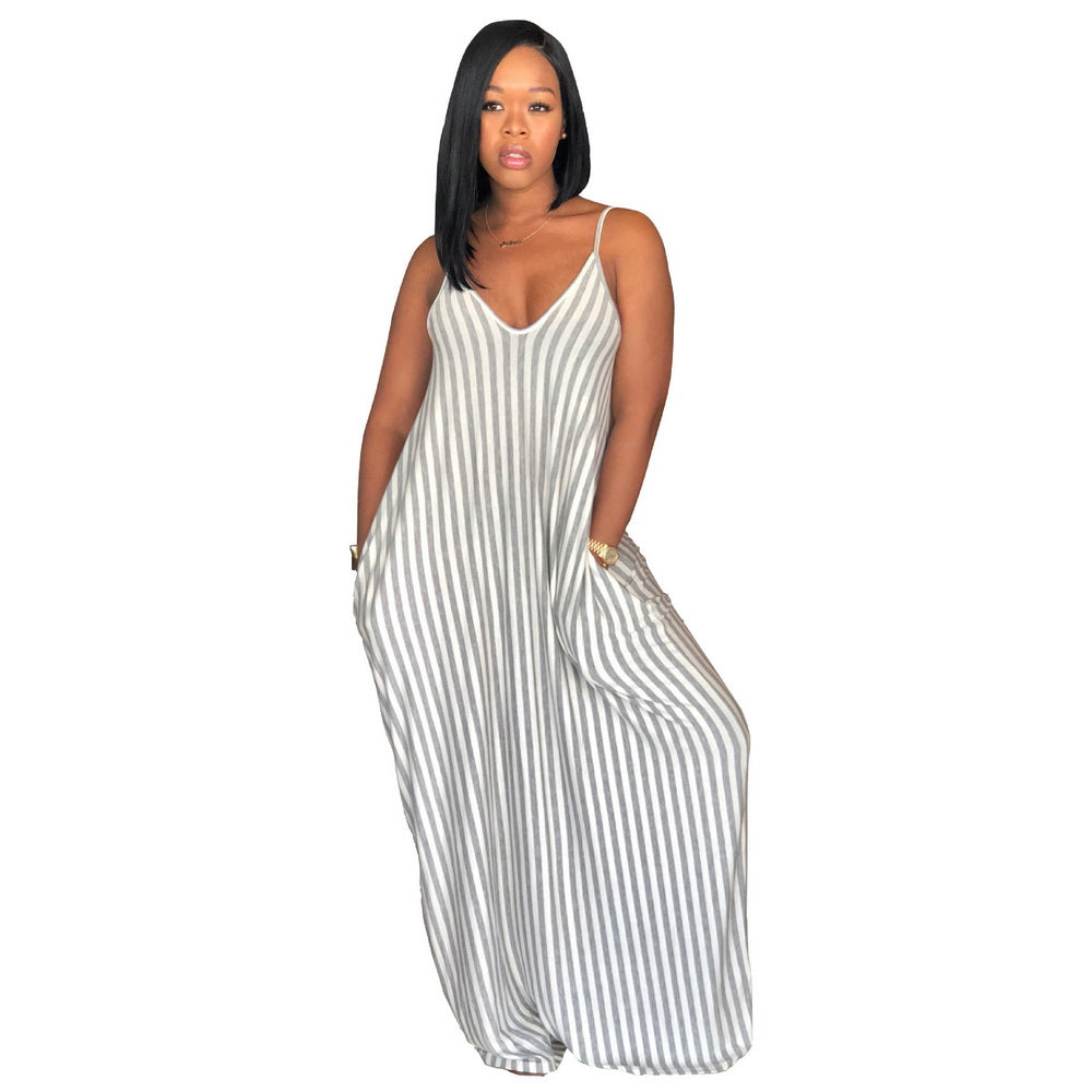 351ac3cdea ... Dress Women Off Shoulder Beach Summer Sleeveless Loose Stripe. Hover to  zoom