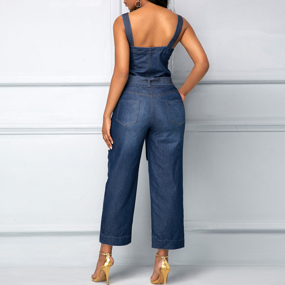 295d4eb41d2 ... Wendywu Newly Sexy Jumpsuit Fashion Jeans Jumpsuit Summer Sleeveless  Denim Playsuits Cotton Rompers Womens Denim Jeans ...
