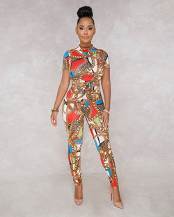 Wendywu Sexy Chain Print Jumpsuit 2018 Summer Overalls Two Piece Set Crop Top Skinny Pants Rompers Womens Jumpsuit