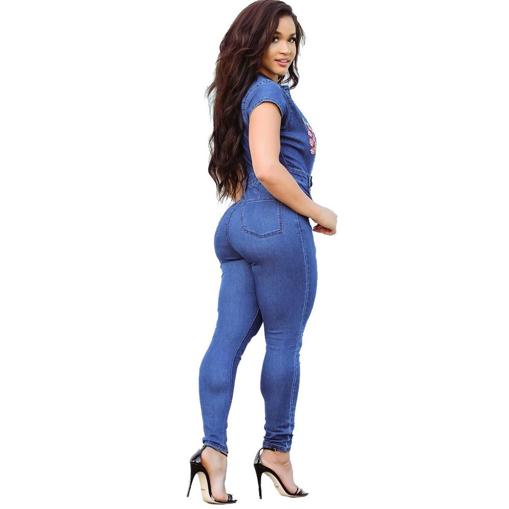 3703bae1692f ... Wendywu Sexy Embroidery Denim Women Jumpsuit Long Pants Short Sleeve  Bodycon V Neck Pocket Plus Size ...