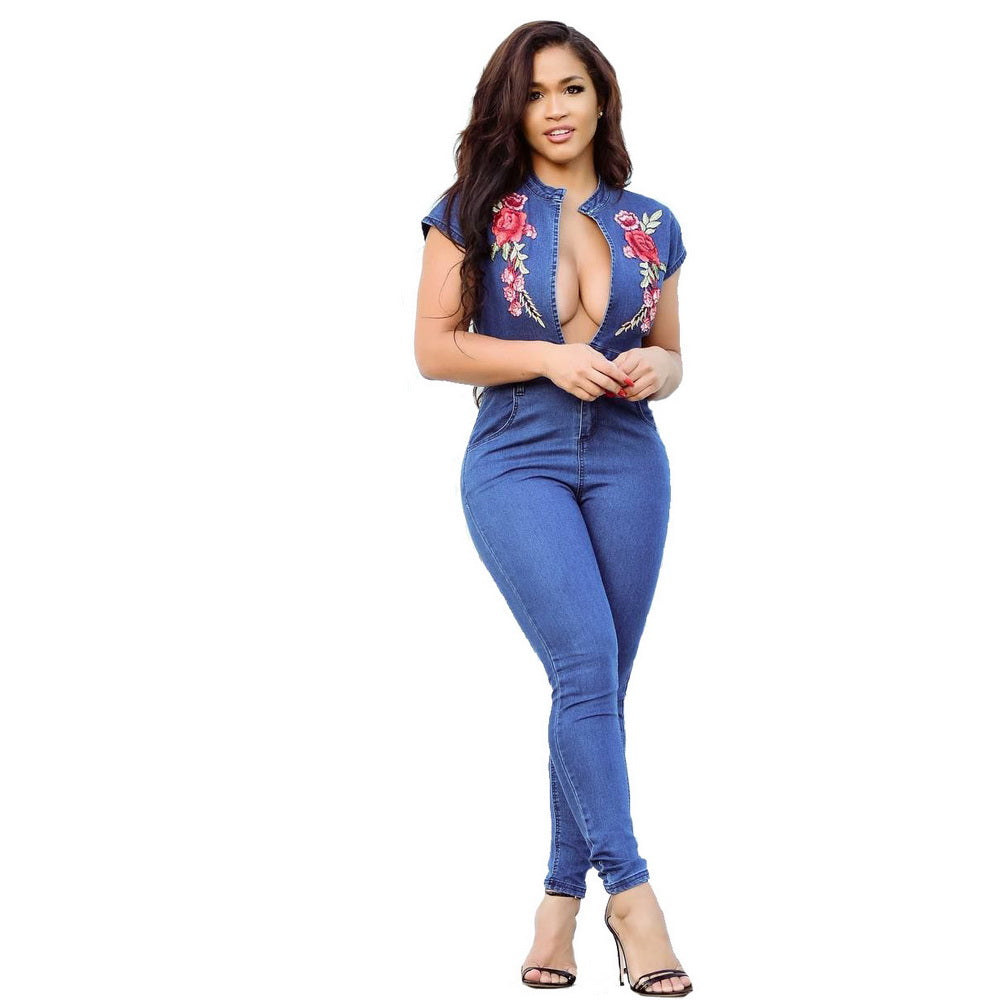 a3768b8599425 Wendywu Sexy Embroidery Denim Women Jumpsuit Long Pants Short Sleeve  Bodycon V Neck Pocket Plus Size ...