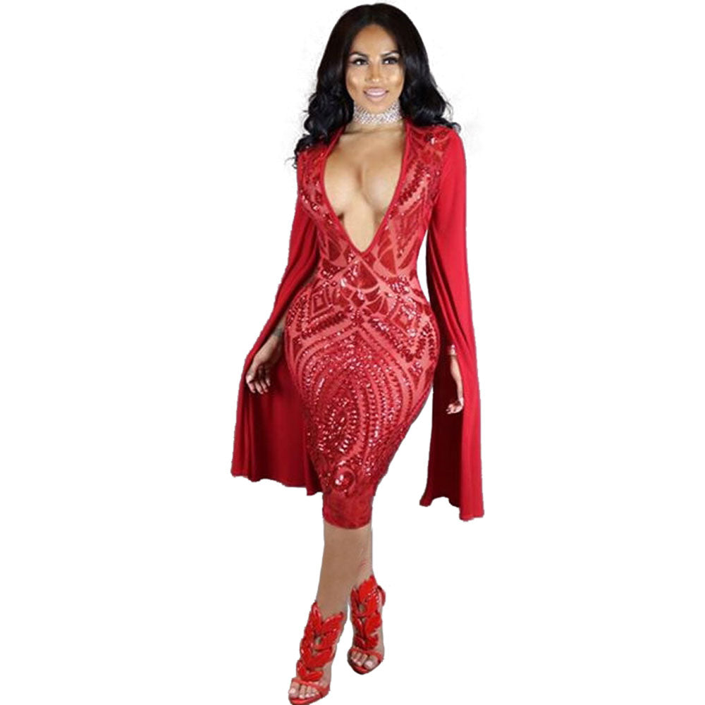 d5440952c36b Wendywu Special Design Sequined Deep V-Neck Split Long Sleeve Red ...
