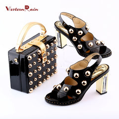 ef12c1858538b9 WesternRain 2018 Black Red New Sexy Shoes And Bag To Match 10cm High Heel  Women Wedge ...