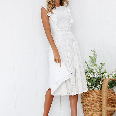 7dff2ef5ee4 ... Image of White Dress Summer Boho Ruffles Women 2018 Midi Lace Dress  Female Elegant Patchwork Sleeveless ...