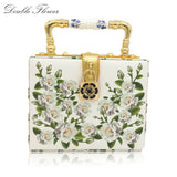 White Rose Flower Women Fashion Handbags Shoulder Totes Box Clutch Bags Ladies Casual Business Party Crossbody Clutches Bag