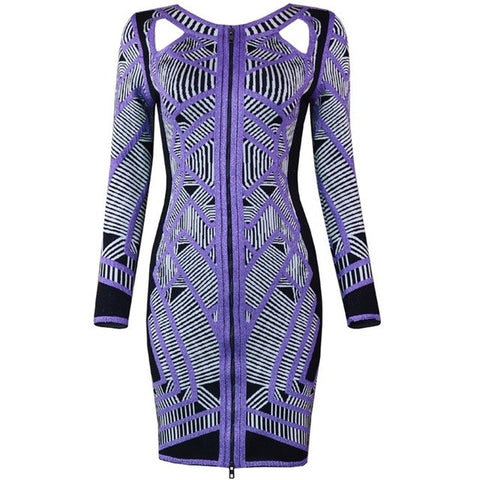 Wholesale 2018 Autumn Winter Long Sleeve Dress High Quality Jacquard Sexy Cutout Front Zipper Party Luxury Women Bandage Dresses
