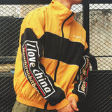 Windbreaker Jackets handsome hit color stitching windbreaker  men and women hiphop lovers Coat students L178