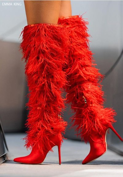 589fb3b0d40 ... Winter Fashion Full Feather Cross-tied Over Knee Boots Zipper Pointed  Toe Thin High Heels