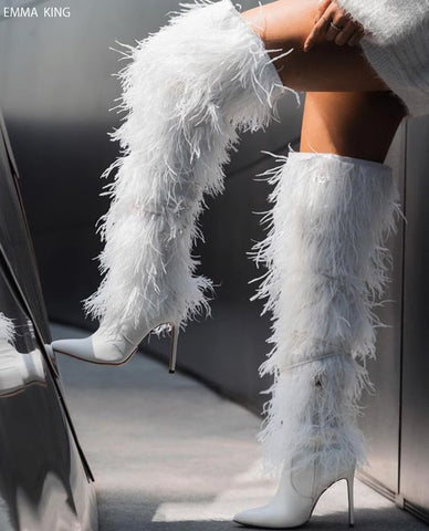 Winter Fashion Full Feather Cross-tied Over Knee Boots Zipper Pointed Toe Thin High Heels Sexy Stilettos Long Botas Shoes Woman