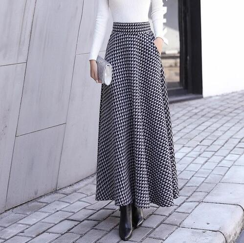 1279f4b7e0 Winter Thicken Women Woolen Maxi Skirts 2018 Fashion High Waist Plaid Wool  Pleated Skirt Female Casual. Hover to zoom