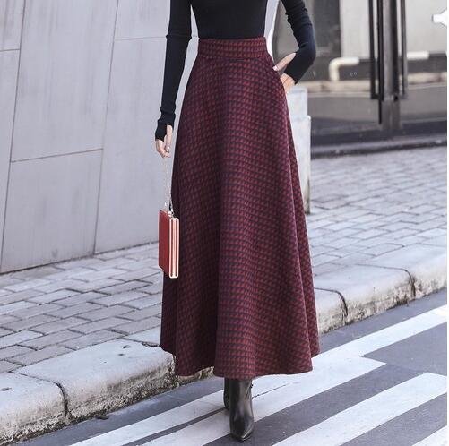 be9ee4e7a3 Hover to zoom · Winter Thicken Women Woolen Maxi Skirts 2018 Fashion High  Waist Plaid Wool Pleated Skirt Female Casual