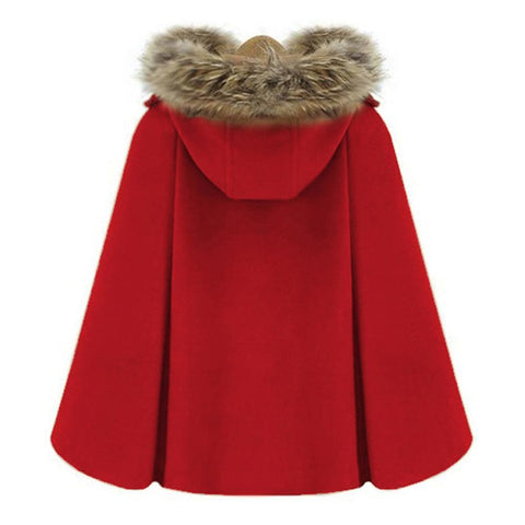 Winter Womens Short Woolen Coat Female Turtleneck Cape Parka Blend Wool Cloak Pullover Poncho 2017 Outerwear Casaco Faux Fur