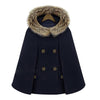 Image of Winter Womens Short Woolen Coat Female Turtleneck Cape Parka Blend Wool Cloak Pullover Poncho 2017 Outerwear Casaco Faux Fur