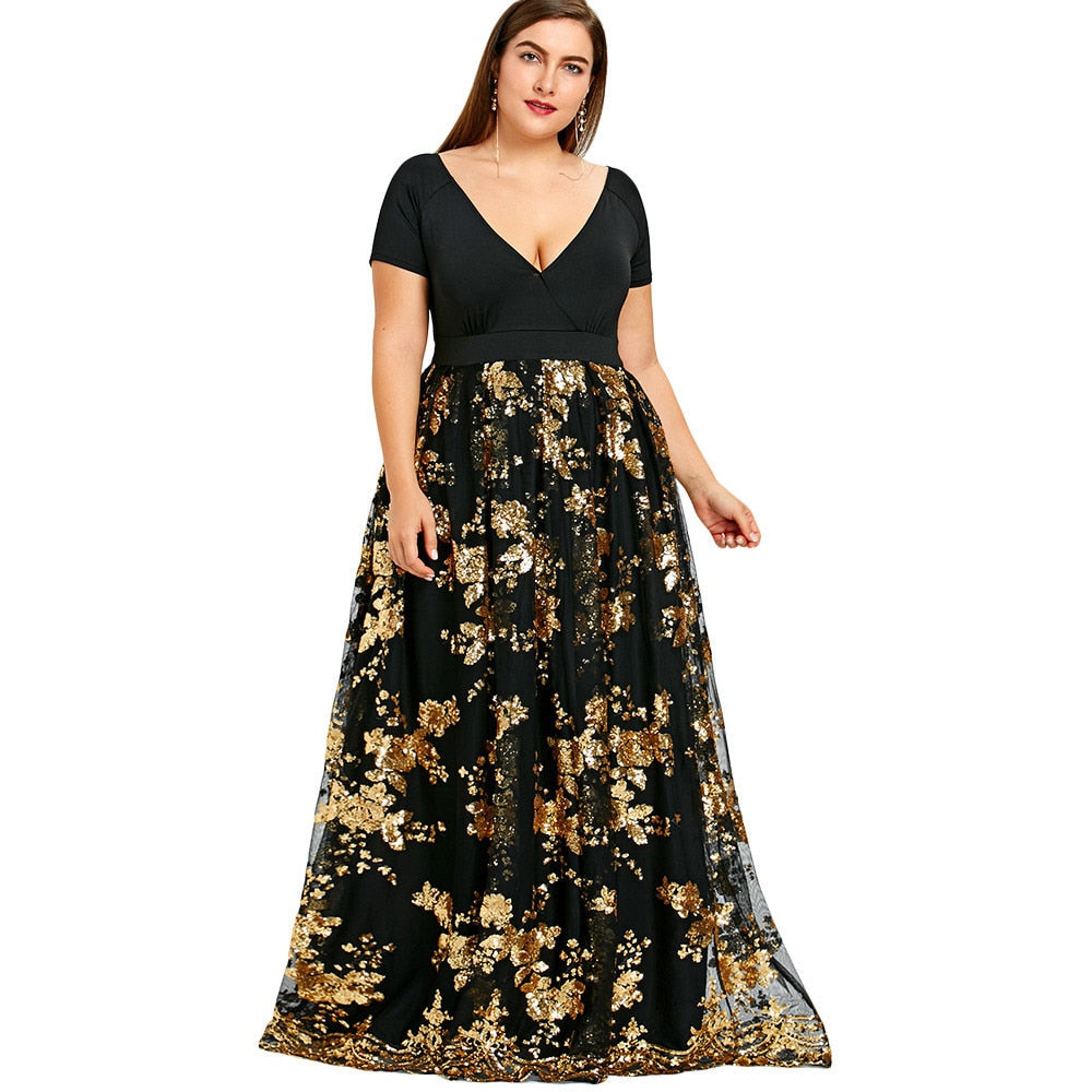 Wipalo Floral Sparkly Long Maxi Dress 2018 Design Plus Size V-Neck Robe  Evening Party Dresses Women Elegant Long Vestidos Black
