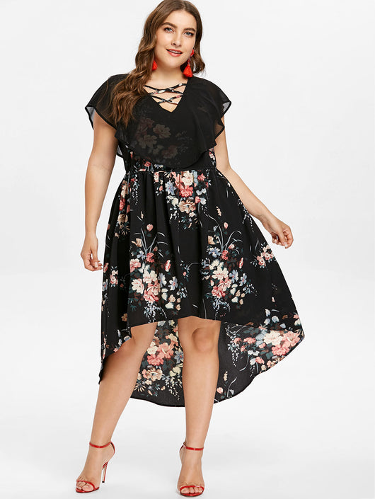 Wipalo Plus Size 5XL Tiny Floral Overlay High Low Dress Women V-Neck Short  Sleeve A Line Dresses Summer Party Dress Big Size
