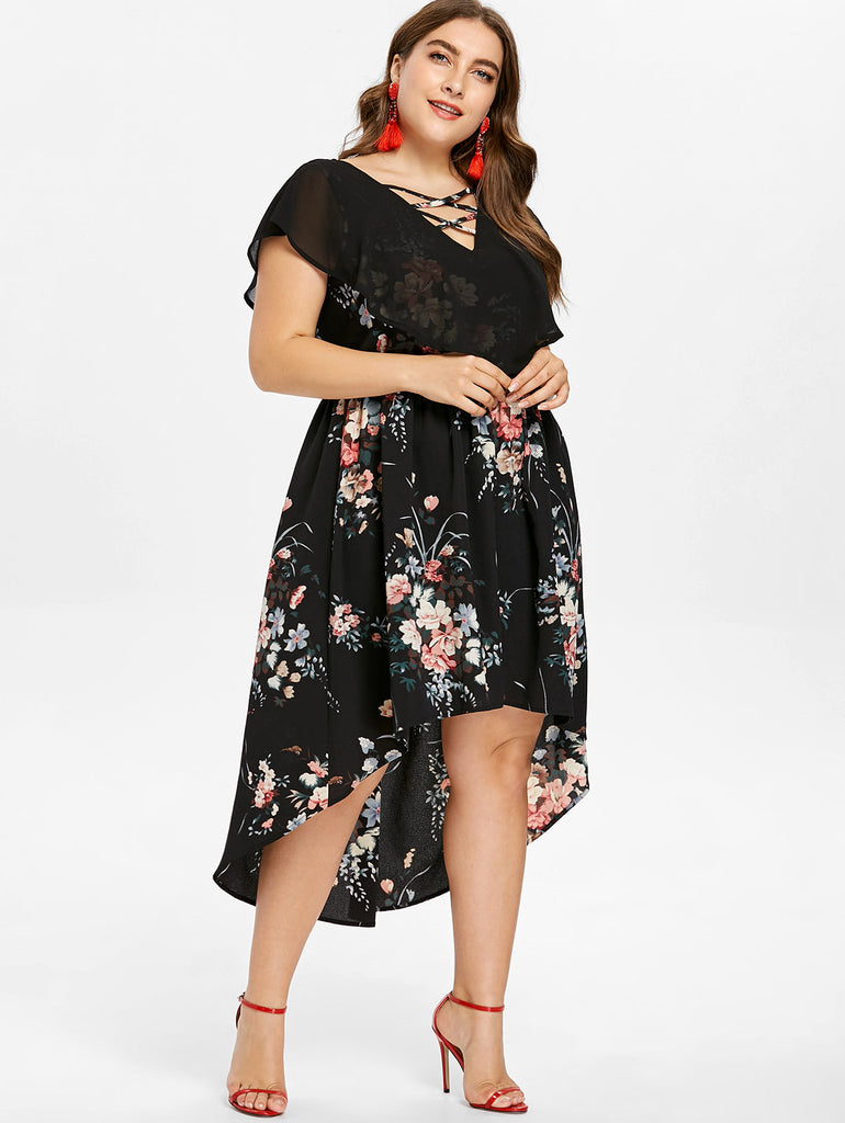 c5587e2f866 Wipalo Plus Size 5XL Tiny Floral Overlay High Low Dress Women V-Neck ...
