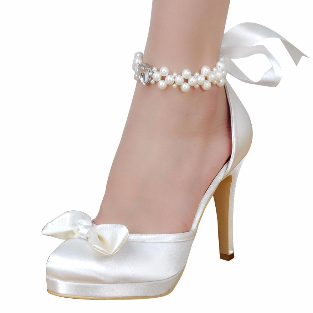 cb142de61a Woman Bridal Wedding Shoes White Ivory High Heel Platform Round Toe Pearls  Ankle Strap Bow Satin Lady Prom Evening Pumps EP11074