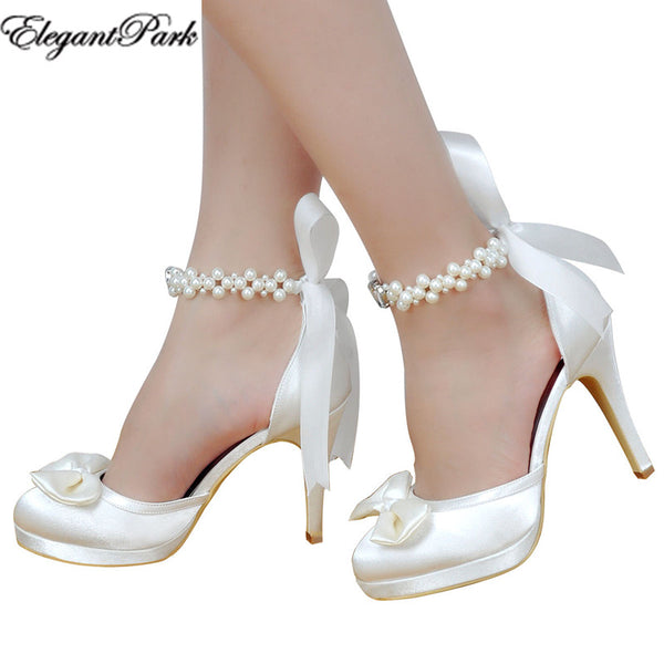 Woman Bridal Wedding Shoes White Ivory High Heel Platform Round Toe Pearls Ankle Strap Bow Satin Lady Prom Evening Pumps EP11074