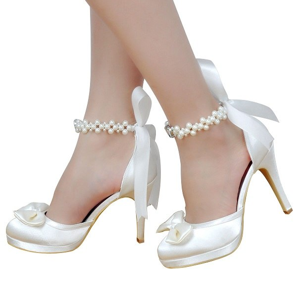 84d50bd1dee0 ... Woman Bridal Wedding Shoes White Ivory High Heel Platform Round Toe  Pearls Ankle Strap Bow Satin ...