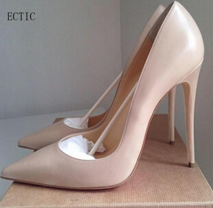 fd676454504 ... Woman high heel pumps office nude shoes 2018 Pointed Toe Patent Leather  red white women wedding ...