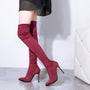 Woman shoes  high Heels socks Boots over the knee Boots pointed toe Thigh high Boots zapatos de mujer black brown wine red gray