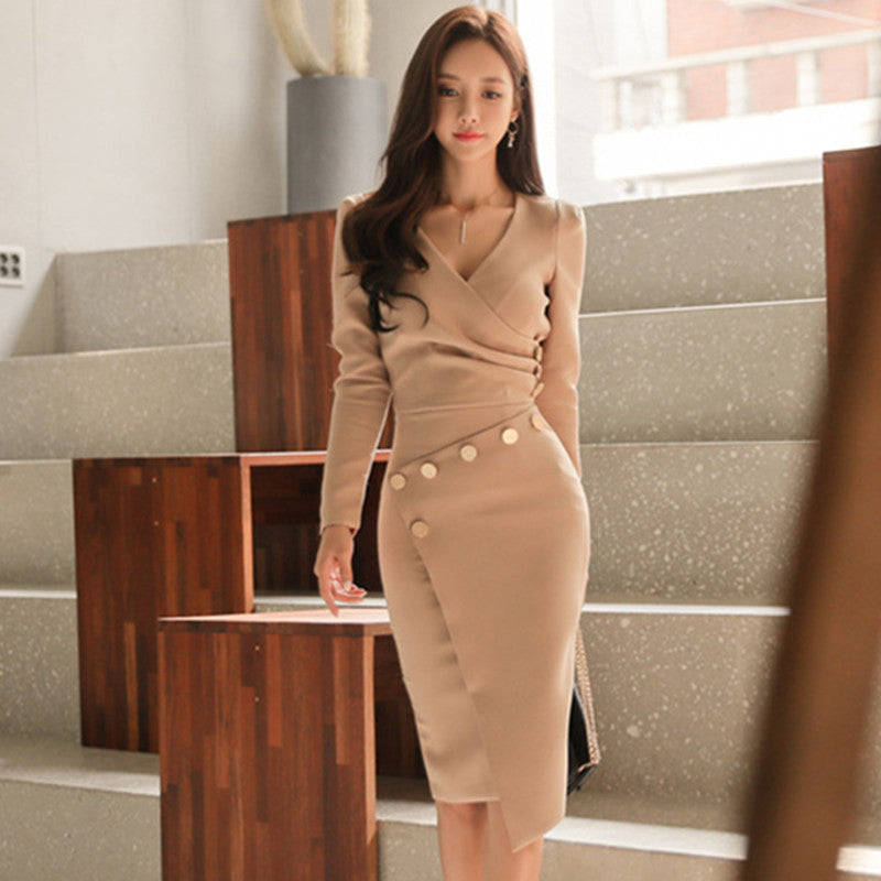 e4dcd3493f96 ... Women 2 Piece Asymmetrical Dress 2017 Autumn Office V-Neck Long Sleeve  Bandage Bodycon Dresses