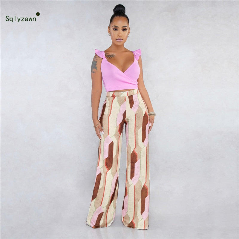 d7b374e5cd Women 2 Piece Outfits V Neck Ruffle Sleeve Crop Top with Printed Long  Palazzo Pants Sets. Hover to zoom · Women 2 Piece Outfits ...