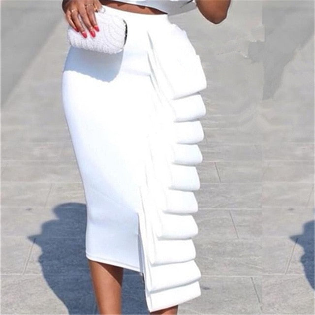 301c6774c5 Women 2 Piece Sets Crop Tops Skirts Sexy Dinner Ruffles Off Shoulder Slim  Jupes 2019 Fashion. Hover to zoom