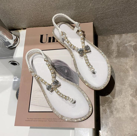 Image of Women 2019 summer new low-heeled word pearl wool line female sandals flat with soft bottom slip wear home female slippers
