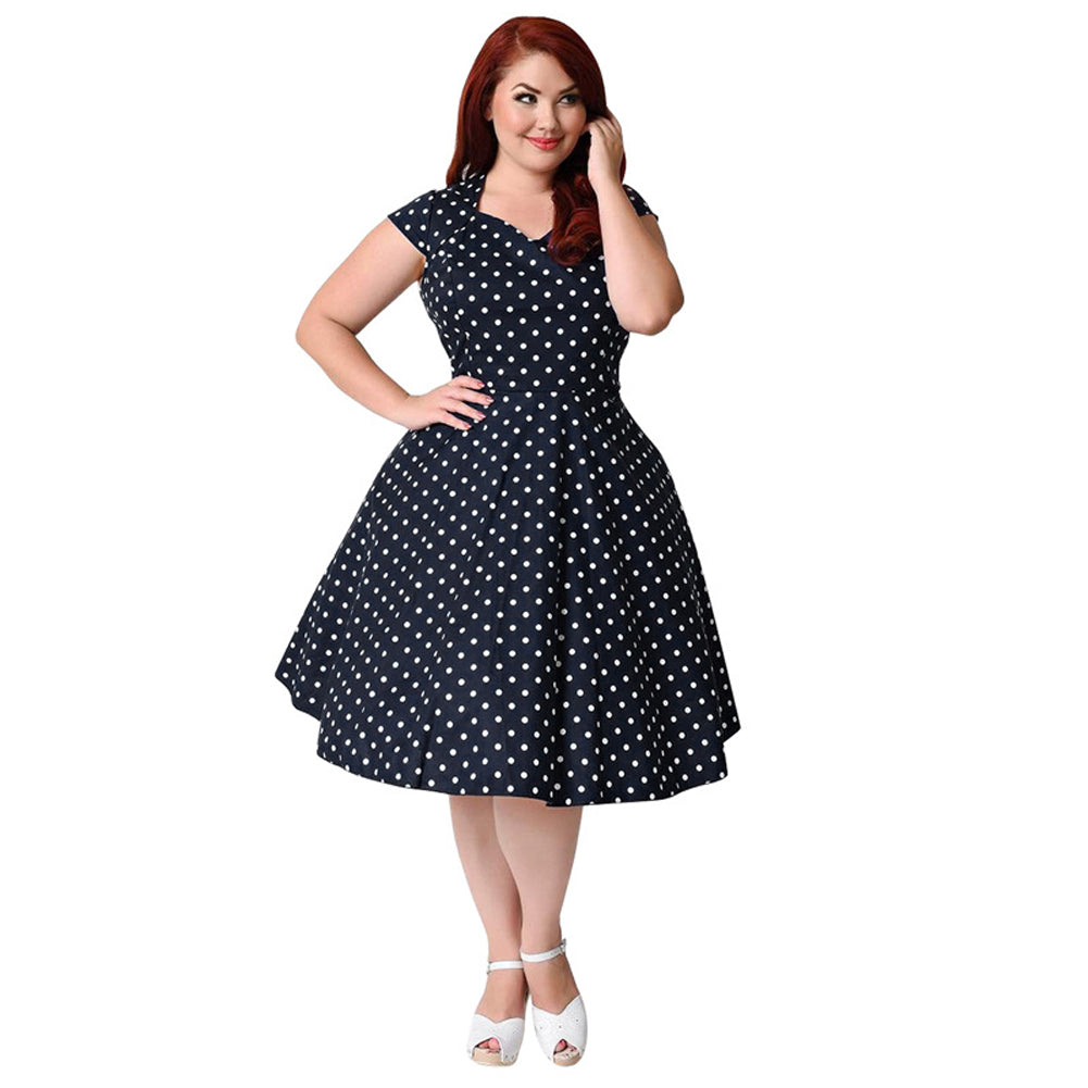 5e1af96af368 Women 8XL 9XL Plus Size Retro Polka Dot Dress 1950s 60s Rockabilly ...