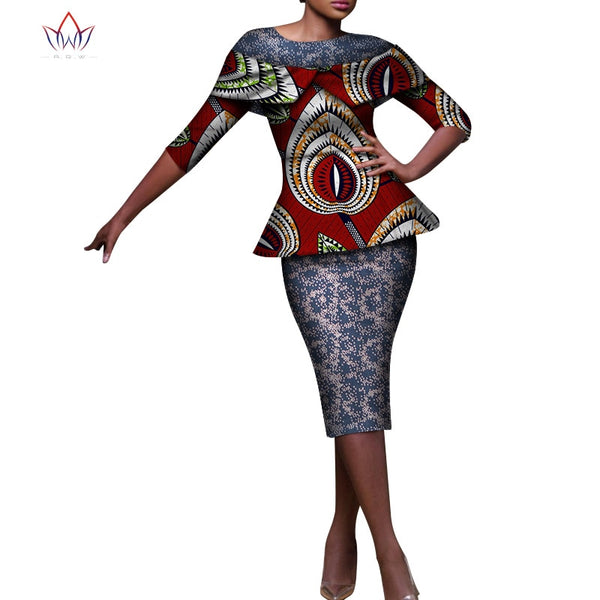 Women African Clothing 2 Piece Set Skirt Suit for Women Tops and Print Skirt Riche African Clothing Skirt Set for Woman WY7421