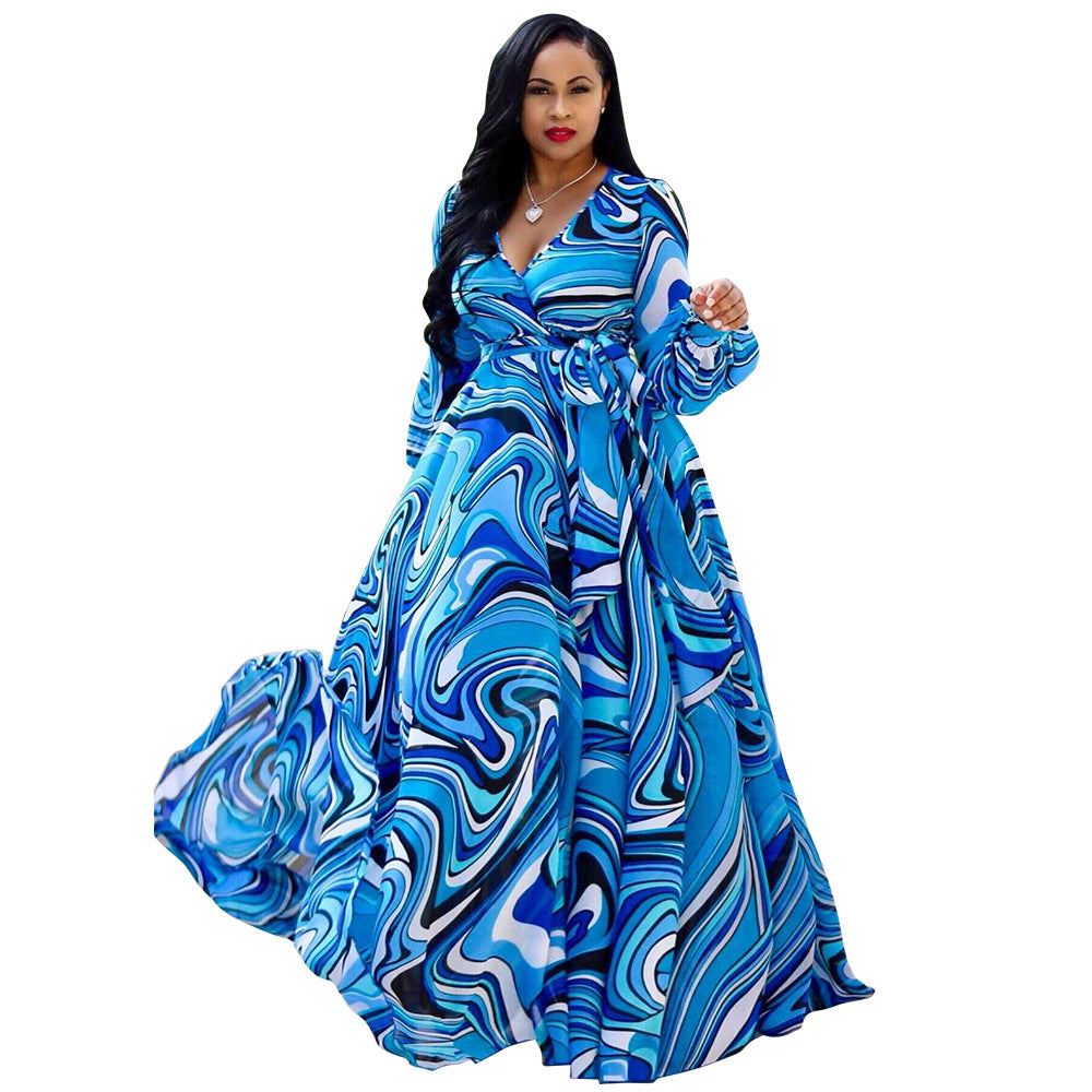 Women African Dress Summer Plus Size Print Chiffon Robe New Expansion  Europe Style Vestidoos Big Swing Fashion Maxi Dresses
