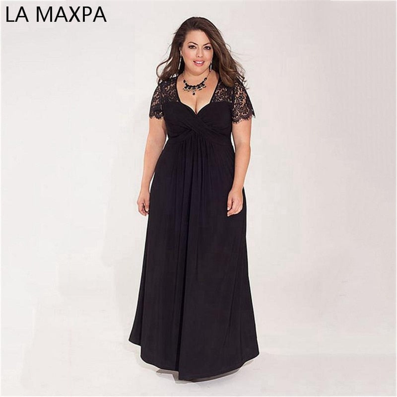 8fa2ddfdfb Women Big Large Plus Size Elegant Sexy Evening Maxi Long Little Black Red  Party Lace Dresses 2xl 3xl 4xl 5XL 6XL Clothing Gown