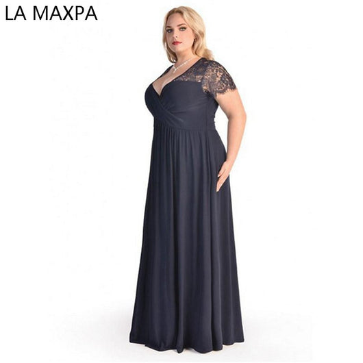 Women Big Large Plus Size Elegant Sexy Evening Maxi Long Little Black Red Party Lace Dresses 2xl 3xl 4xl 5XL 6XL Clothing Gown