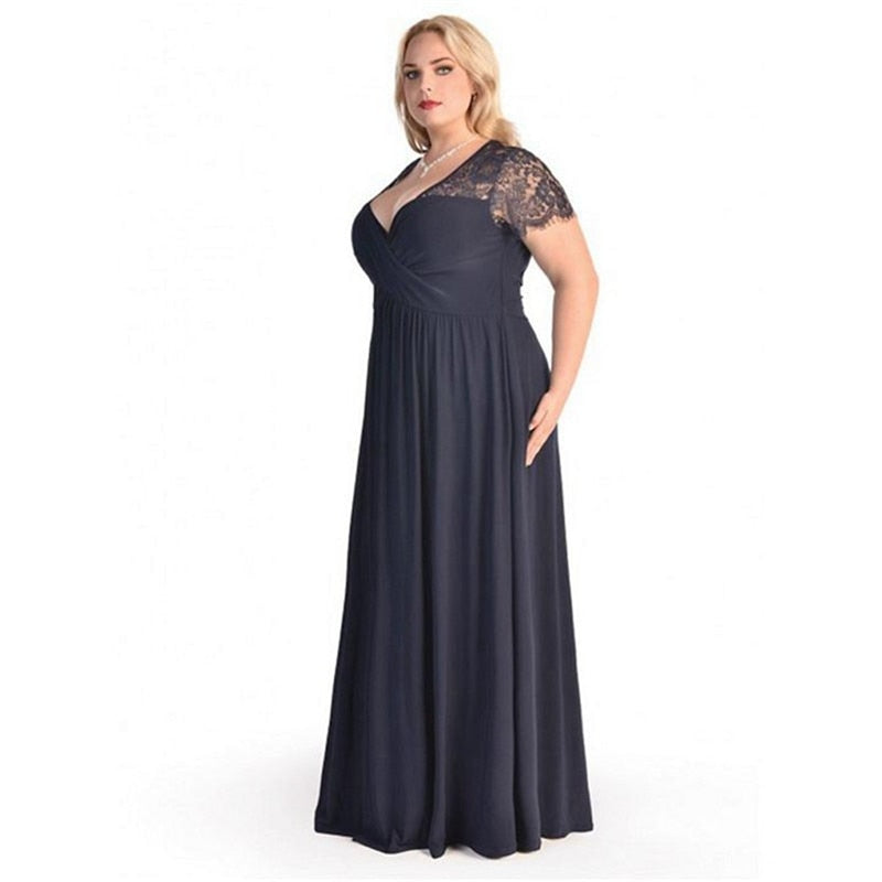 5a0b3832cdb9 Women Big Large Plus Size Elegant Sexy Evening Maxi Long Little Black Red  Party Lace Dresses. Hover to zoom