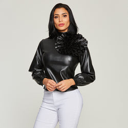 Women Black Leather Blouse Shirts Appliques Flower Plain Cool Long Lantern Sleeve Tops Stand Collar Modern Zipper PU Shirts Top