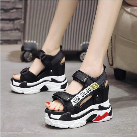 cd0cb6b642ea Image of Women Black White buckle platform casual sneaker shoes Girl height  increasing Beach Sandals shoes ...