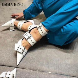 Women Brand Buckle Straps Leather Boots Sandals 9cm Iron High Heel Pumps Pointy Toe Sandalias Cut Out Fashion Cool Shoes Women