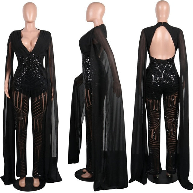 sale uk superior performance newest style Women Chiffon Split Long Sleeve Sequin Jumpsuit Sexy V Neck Patchwork Loose  Wide Leg Romper Evening Sparkly Jumpsuit Overalls