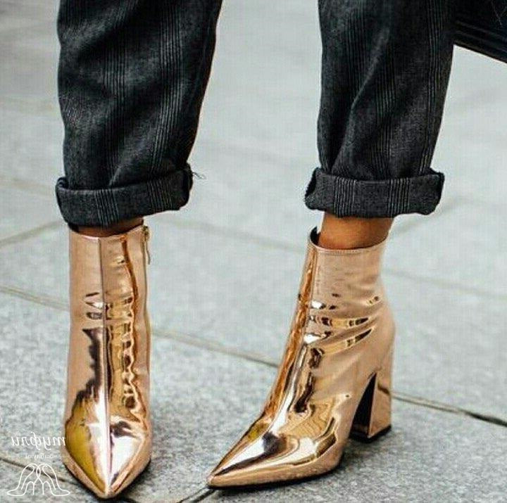 6c4d071db2f Women Chunky Heel Ankle Boots Gold Patent Leather Pointed Toe Motorcycle  Boots Pointed Toe Side Zipper Riding Boots