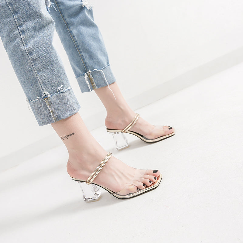 871fea9d8a2 Women Clear Sandals Crystal Summer Slippers Slides High Heels Sexy Clear  Transparent Heel Women Shoes Party Crystal Sandals
