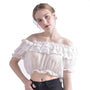 Women Crop Top Blouse Lolita Frilly Chiffon White/Black Puff Sleeve Lace Bottoming Undershirt