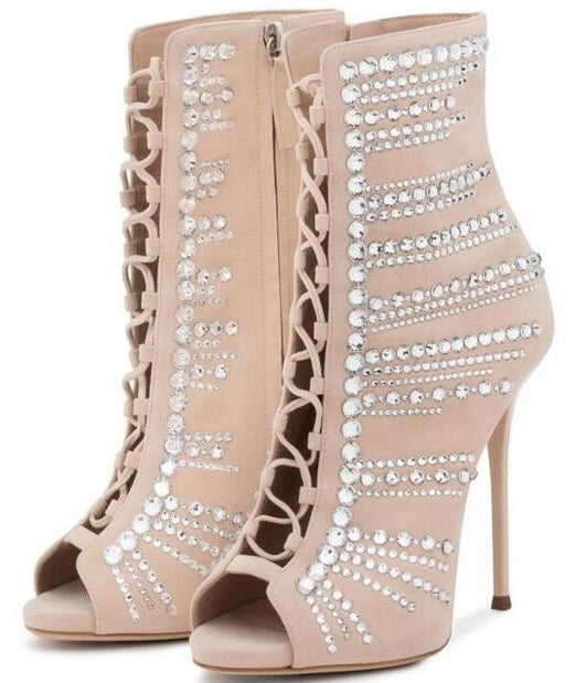 d445f79e992 Women Crystal Ankle Boots Peep Toe Lace-up Gladiator Sandals Boots Thin  Heels Cut-out Dress Shoes Sexy Spring Autumn Boots