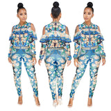 Women Dashiki Traditional Print Ruffles Skinny Jumpsuit Cold Shoulder Full Sleeve Long Pant 2 Piece Set Rompers Vetement Femme