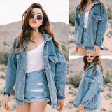 Women Denim Jacket Coat Autumn Winter Long Sleeves Jackets Jeans Lapel Tops Basic Pocket Single Breasted Casual Outwear EY11